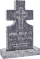 24inch x 6inch x 42inch Cross Upright Headstone polished front and back with 34inch Base in Bahama Blue