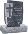 24inch x 6inch x 42inch Cross Upright Headstone polished front and back with 34inch Base in Blue Pearl