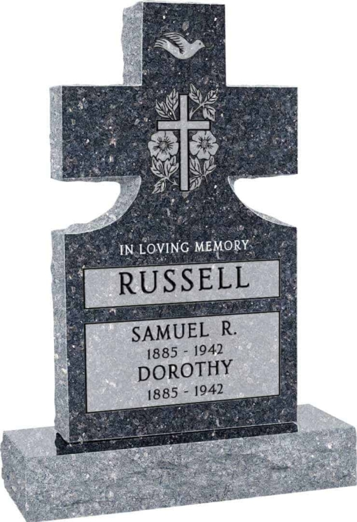 24inch x 6inch x 42inch Cross Upright Headstone polished front and back with 34inch Base in Blue Pearl with design Sanded Panel
