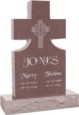 24inch x 6inch x 42inch Cross Upright Headstone polished front and back with 34inch Base in Desert Pink