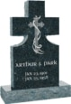 24inch x 6inch x 42inch Cross Upright Headstone polished front and back with 34inch Base in Emerald Pearl