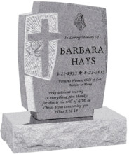 24inch x 6inch x 42inch Cross Upright Headstone polished front and back with 34inch Base in Grey