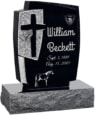 24inch x 6inch x 42inch Cross Upright Headstone polished front and back with 34inch Base in Imperial Black