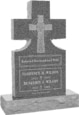 24inch x 6inch x 42inch Cross Upright Headstone polished front and back with 34inch Base in Imperial Grey