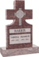 24inch x 6inch x 42inch Cross Upright Headstone polished front and back with 34inch Base in Mahogany with design Sanded Panel