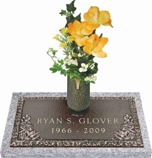 24x12 Dark Bronze Country Rose with Granite Base and Vase Front Perspective
