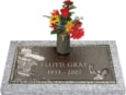 24x12 Dark Bronze Golf Male with Granite Base and Vase Front Perspective