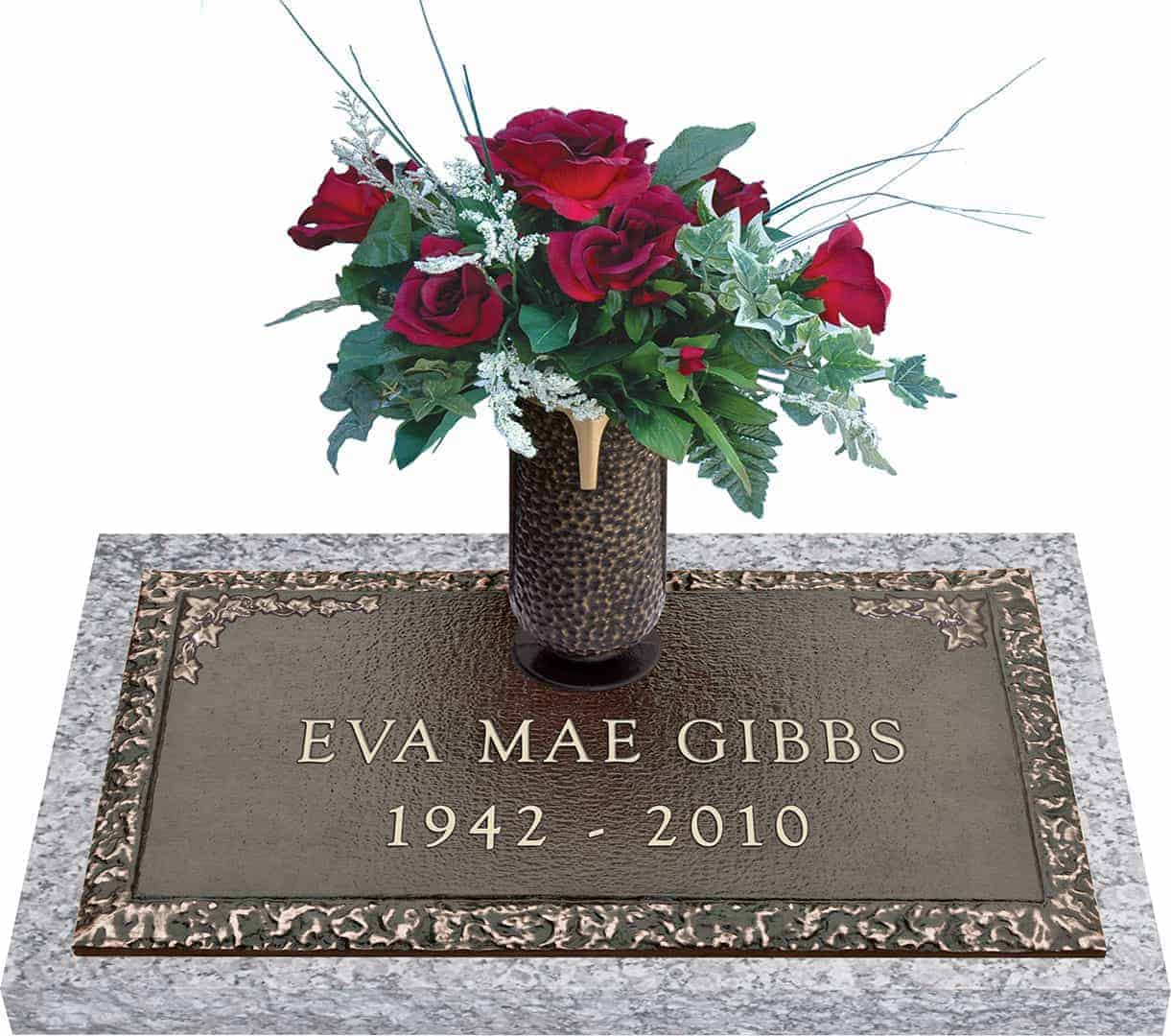 Bronze Headstone 24x14 Individual With Vase Honor Life