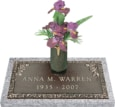 24x12 Dark Bronze Petite Rose with Granite Base and Vase Front Perspective
