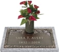24x12 Dark Bronze Pine Bough 1 with Granite Base and Vase Front Perspective
