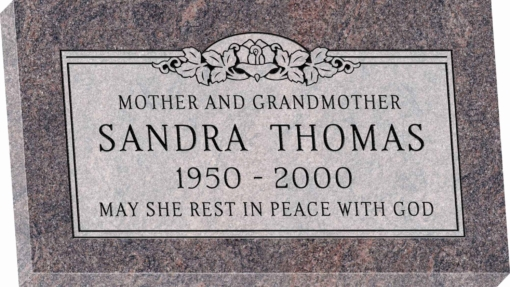 28inch x 16inch x 3inch Flat Granite Headstone in Himalayan with design SD-105 Sanded Panel