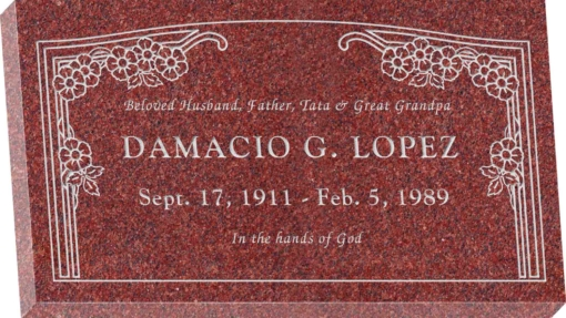 28inch x 16inch x 3inch Flat Granite Headstone in Imperial Red with design HL-102