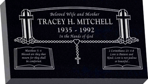28inch x 16inch x 4inch Flat Granite Headstone in Imperial Black with design SD-902