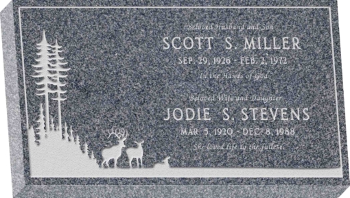 28inch x 16inch x 4inch Flat Granite Headstone in Imperial Grey with design SD-412