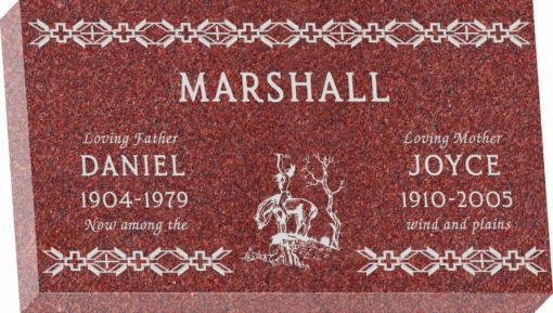 28inch x 16inch x 4inch Flat Granite Headstone in Imperial Red with design SD-204