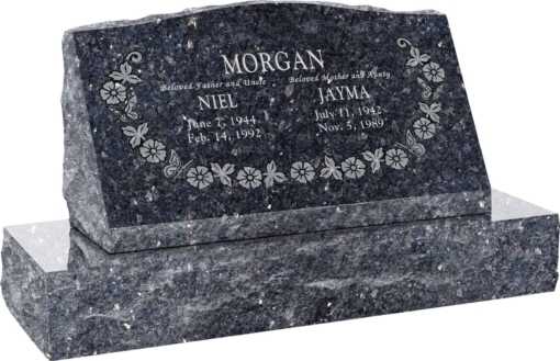 30inch x 10inch x 16inch Serp Top Slant Headstone polished front and back with 36inch Base in Blue Pearl with design SD-118, Sanded Panel