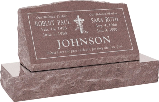 30inch x 10inch x 16inch Serp Top Slant Headstone polished front and back with 36inch Base in Desert Pink with design V-3