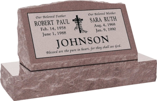 30inch x 10inch x 16inch Serp Top Slant Headstone polished front and back with 36inch Base in Desert Pink with design V-3, Sanded Panel