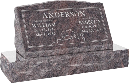 30inch x 10inch x 16inch Serp Top Slant Headstone polished front and back with 36inch Base in Imperial Red with design SD-120