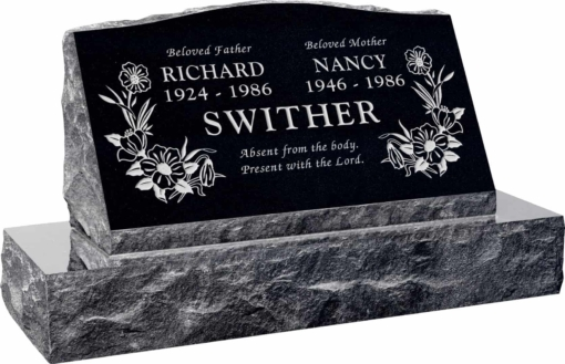 30inch x 10inch x 16inch Serp Top Slant Headstone polished front and back with 36inch Base in Imperial Black with design T-7