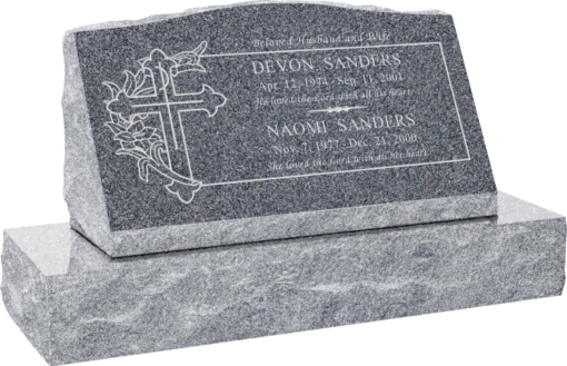 30inch x 10inch x 16inch Serp Top Slant Headstone polished front and back with 36inch Base in Imperial Grey with design SD-330