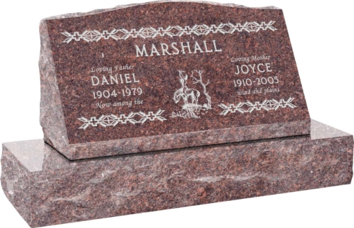 30inch x 10inch x 16inch Serp Top Slant Headstone polished front and back with 36inch Base in Mahogany with design SD-204