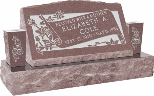 30inch x 10inch x 16inch Serp Top Slant Headstone polished front and back with 42inch Base and two square tapered Vases in Desert Pink with design F-108