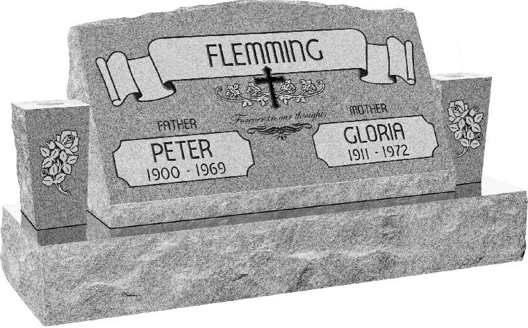 30inch x 10inch x 16inch Serp Top Slant Headstone polished front and back with 42inch Base and two square tapered Vases in Grey with design AS-021, Sanded Panel
