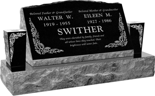 30inch x 10inch x 16inch Serp Top Slant Headstone polished front and back with 42inch Base and two square tapered Vases in Imperial Black with design B-6