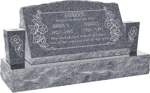 30inch x 10inch x 16inch Serp Top Slant Headstone polished front and back with 42inch Base and two square tapered Vases in Imperial Grey with design C-101