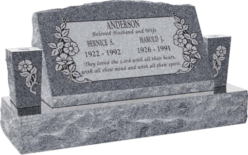 30inch x 10inch x 16inch Serp Top Slant Headstone polished front and back with 42inch Base and two square tapered Vases in Imperial Grey with design C-101, Sanded Panel