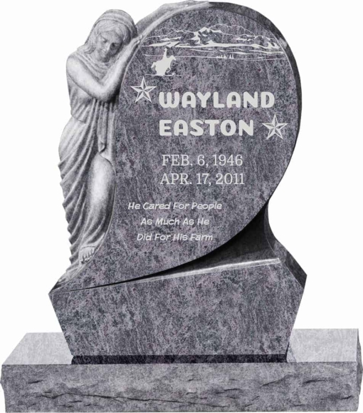 31inch x 6inch x 42inch Saint Mary Upright Headstone polished all sides with 34inch Base in Bahama Blue