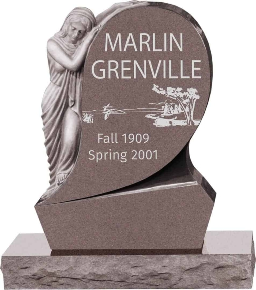 31inch x 6inch x 42inch Saint Mary Upright Headstone polished all sides with 34inch Base in Desert Pink
