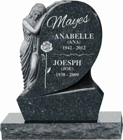 31inch x 6inch x 42inch Saint Mary Upright Headstone polished all sides with 34inch Base in Emerald Pearl