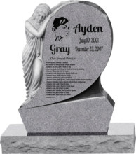 31inch x 6inch x 42inch Saint Mary Upright Headstone polished all sides with 34inch Base in Grey