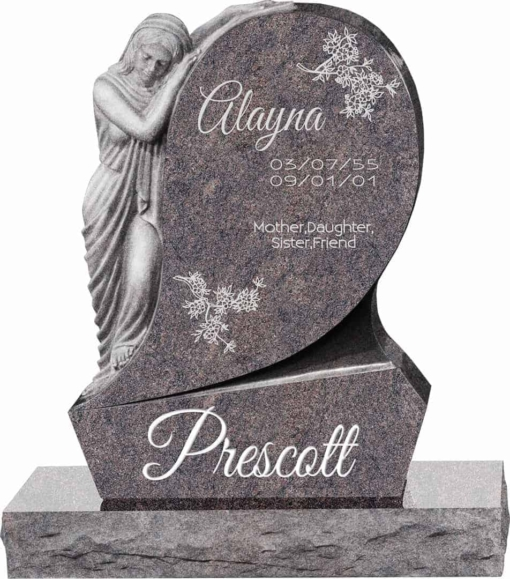 31inch x 6inch x 42inch Saint Mary Upright Headstone polished all sides with 34inch Base in Himalayan