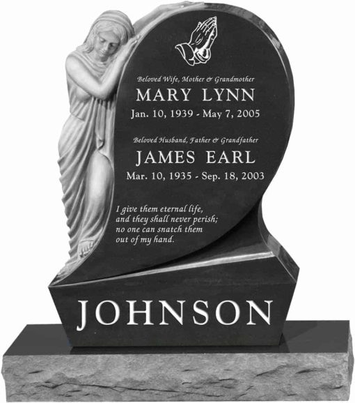 31inch x 6inch x 42inch Saint Mary Upright Headstone polished all sides with 34inch Base in Imperial Black