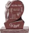 31inch x 6inch x 42inch Saint Mary Upright Headstone polished all sides with 34inch Base in Imperial Red