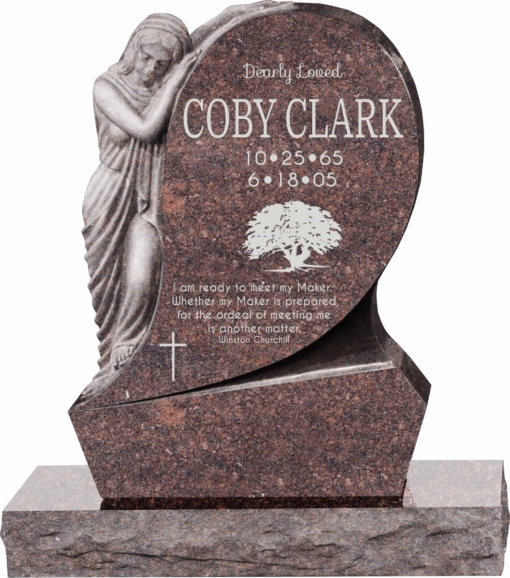 31inch x 6inch x 42inch Saint Mary Upright Headstone polished all sides with 34inch Base in Mahogany