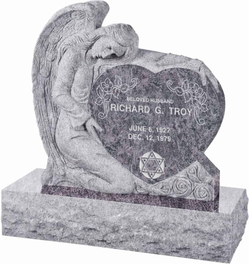 32 inch x 8 inch x 32 inch Angel with Heart Upright Headstone polished all sides with 40 inch Base in Bahama Blue