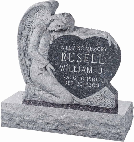 32 inch x 8 inch x 32 inch Angel with Heart Upright Headstone polished all sides with 40 inch Base in Blue Pearl