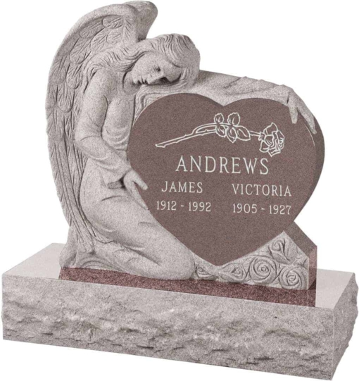 32 inch x 8 inch x 32 inch Angel with Heart Upright Headstone polished all sides with 40 inch Base in Desert Pink