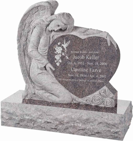 32 inch x 8 inch x 32 inch Angel with Heart Upright Headstone polished all sides with 40 inch Base in Himalayan
