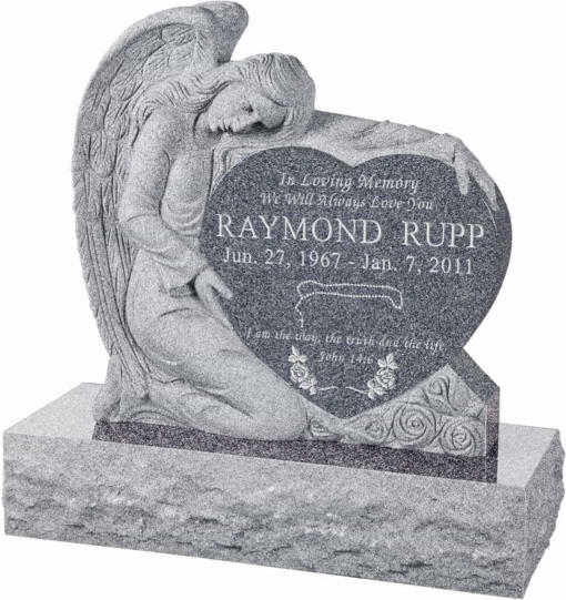 32 inch x 8 inch x 32 inch Angel with Heart Upright Headstone polished all sides with 40 inch Base in Imperial Grey