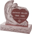 32 inch x 8 inch x 32 inch Angel with Heart Upright Headstone polished all sides with 40 inch Base in Imperial Red