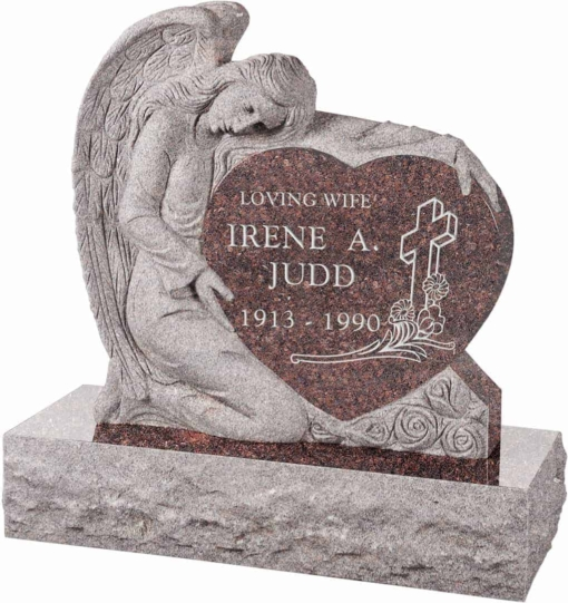 32 inch x 8 inch x 32 inch Angel with Heart Upright Headstone polished all sides with 40 inch Base in Mahogany