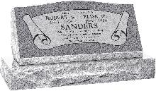 36inch_x_10inch_x_16inch_Serp_Top_Slant_Headstone_polished_front_and_back_with_42inch_base_in_Grey_with_design_B-7_Sanded_Panel