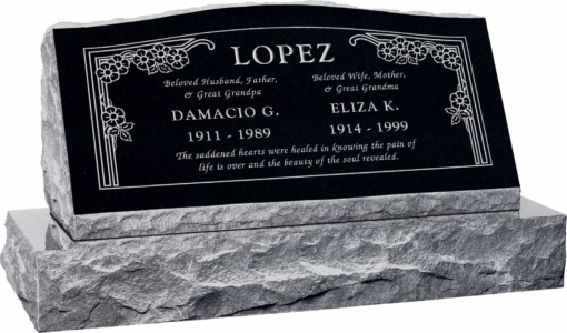 36inch x 10inch x 16inch Serp Top Slant Headstone polished front and back with 42inch base in Imperial Black with design HL-102