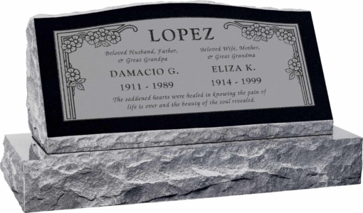 36inch x 10inch x 16inch Serp Top Slant Headstone polished front and back with 42inch base in Imperial Black with design HL-102 Sanded Panel
