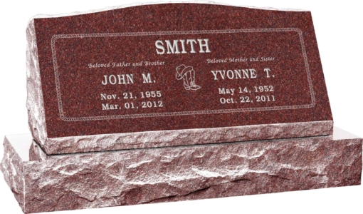 36inch x 10inch x 16inch Serp Top Slant Headstone polished front and back with 42inch base in Imperial Red with design SD-202